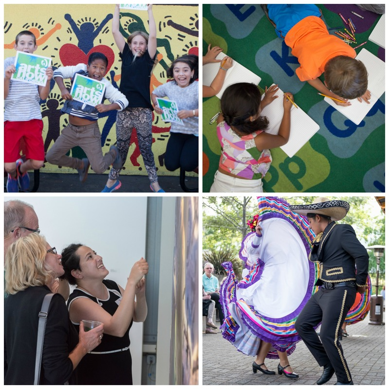 Top: Kids at Arts Now Napa Summit (photo credit: Robb McDonough); Bottom Right: Arts in April at di Rosa (Photo by Bob McClenahan), Dancers at Arts in April Preview at Napa Valley Museum (Robb McDonough)